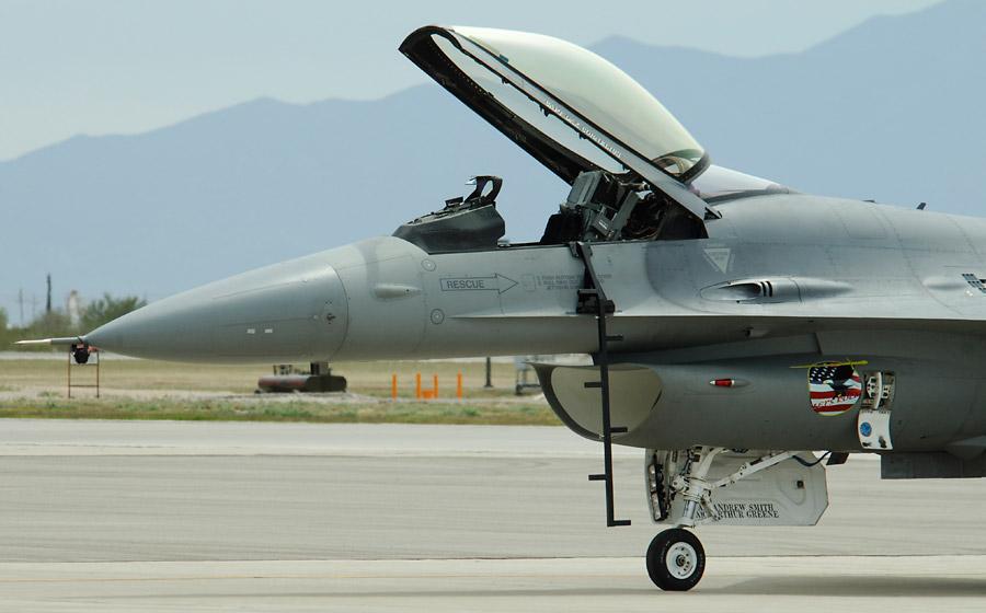 F-16 Canopy awaiting its pilot. & Tucson Air Show